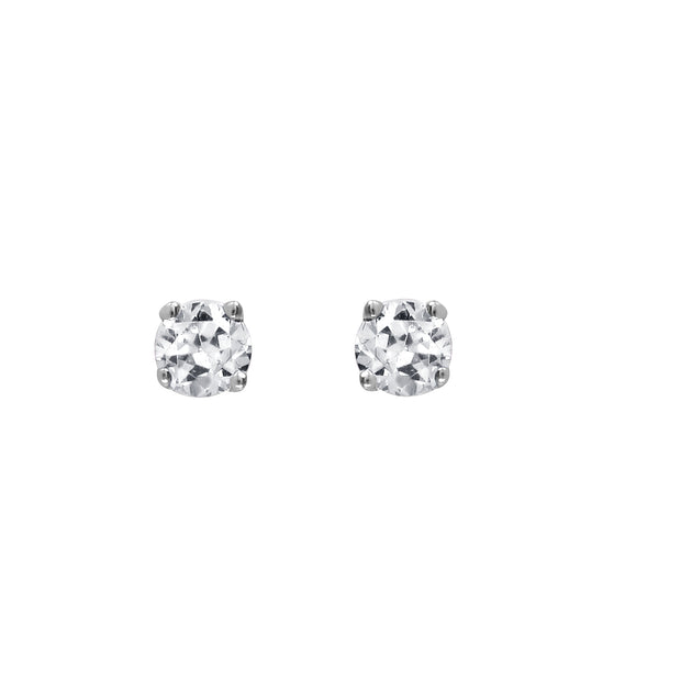 Ladies 14K White Gold Stud Earrings with 0.10 Ct. Diamonds