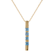 Blue Topaz 14K Yellow Gold Ladies Necklace