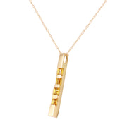 Ladies 14K Yellow Gold Necklace Bar with Citrines - Fashion Strada