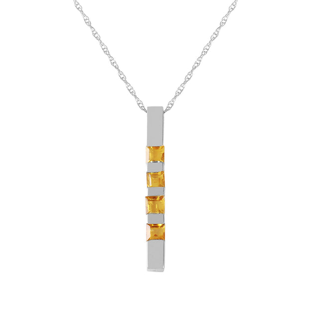Ladies 14K White Gold Necklace Bar with Citrines - Fashion Strada