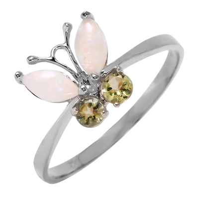 Ladies 14K White Gold Butterfly Ring with Opals & Peridots
