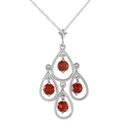 Ladies 14K White Gold You Beside Me Garnet Necklace - Fashion Strada