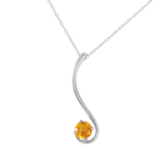Ladies 14K White Gold Into The Light Citrine Necklace - Fashion Strada