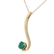 Ladies 14K Solid Gold Life by the River Emerald Necklace - Fashion Strada