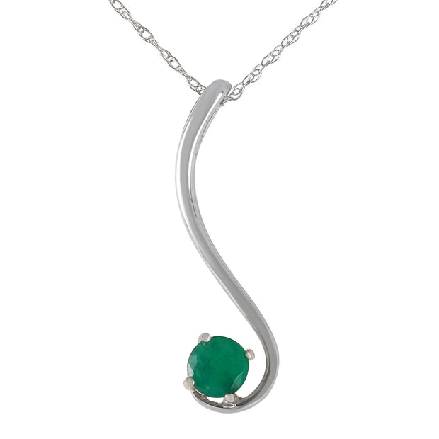 Ladies 14K White Gold Accentuate The Given Emerald Necklace