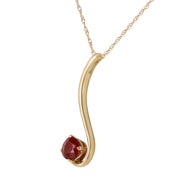 Ladies 14K Solid Gold Silence In Autumn Ruby Necklace - Fashion Strada
