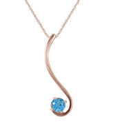 Ladies 14K Rose Gold Birds are Singing Blue Topaz Necklace - Fashion Strada