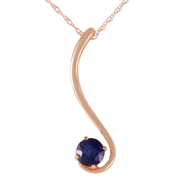 Ladies 14K Rose Gold Delicious Breeze Sapphire Necklace - Fashion Strada