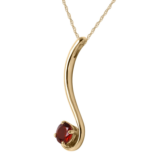 Ladies 14K Yellow Gold Love About Love Garnet Necklace