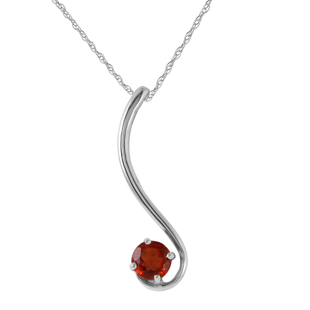 Ladies 14K White Gold Suddenly Garnet Necklace