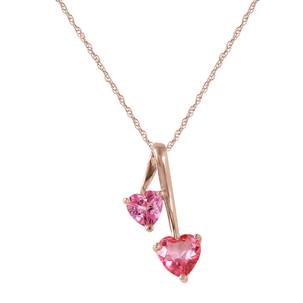 Ladies 14K Rose Gold Hearts Necklace with Pink Topaz - Fashion Strada