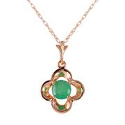 Ladies 14K Rose Gold Everything Flows Emerald Necklace - Fashion Strada