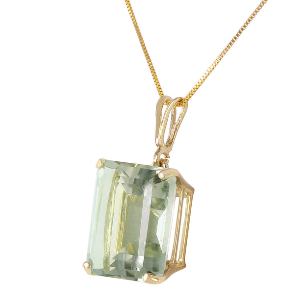 Ladies 14K Solid Gold Necklace with Octagon Green Amethyst - Fashion Strada