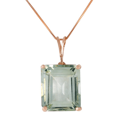 Ladies 14K Rose Gold Necklace with Octagon Green Amethyst - Fashion Strada