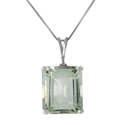 Ladies 14K White Gold Necklace with Octagon Green Amethyst - Fashion Strada