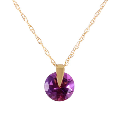 Ladies 14K Solid Gold Saw It Coming Amethyst Necklace - Fashion Strada