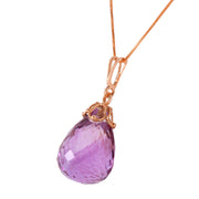 Ladies 14K Rose Gold Raindrop Amethyst Necklace - Fashion Strada