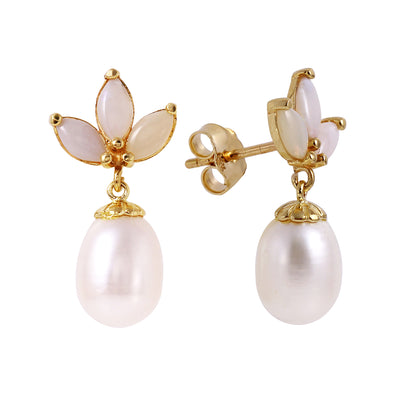 Ladies 14K Solid Gold Dangling Earrings with Pearls & Opals - Fashion Strada