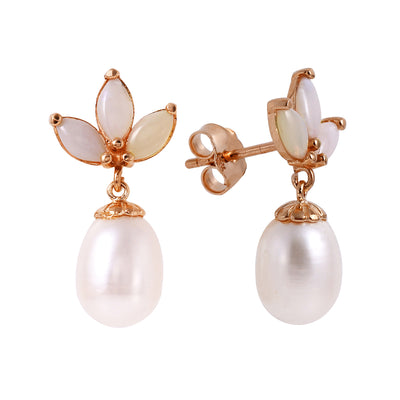 Ladies 14K Rose Gold Dangling Earrings with Pearls & Opals - Fashion Strada