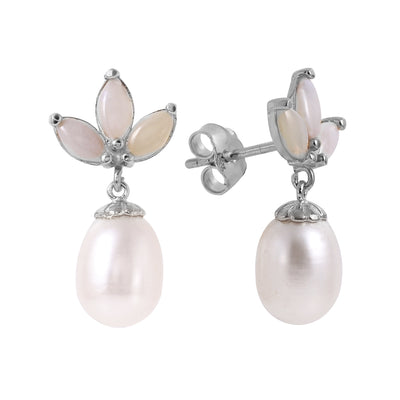 Ladies 14K White Gold Dangling Earrings with Pearls & Opals - Fashion Strada