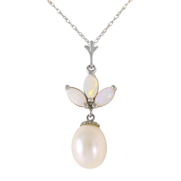 Ladies 14K White Gold Necklace with Pearl & Opals - Fashion Strada
