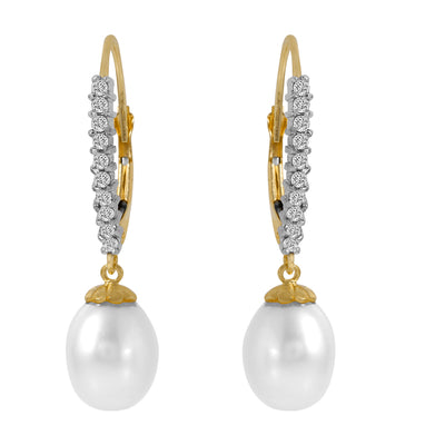 Ladies 14K Solid Gold Lever Back Earrings W/Nr. Diamonds & Pearls - Fashion Strada