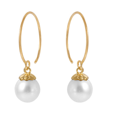 Ladies 14K Solid Gold Circle Wire Earrings with Pearl - Fashion Strada