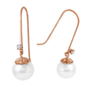 Ladies 14K Rose Gold Fish Hook Earrings W/Diamonds & Pearls - Fashion Strada