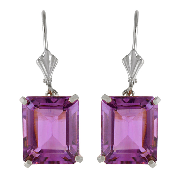 Ladies 14K White Gold Lever Back Earrings with Amethyst - Fashion Strada