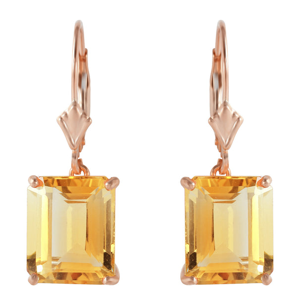 Ladies 14K Rose Gold Lever Back Earrings with Citrines - Fashion Strada