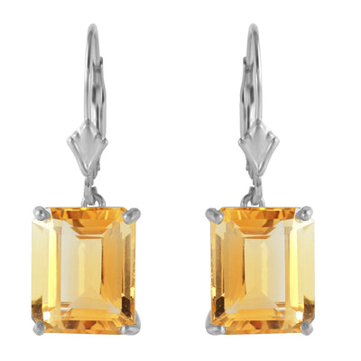 Ladies 14K White Gold Lever Back Earrings with Citrines - Fashion Strada