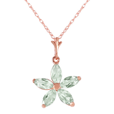 Ladies 14K Rose Gold One Rainy Day Green Amethyst Necklace - Fashion Strada