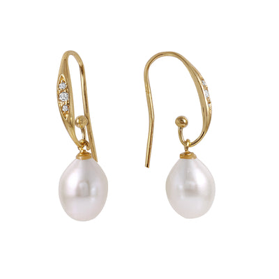 Ladies 14K Solid Gold Emphasis Pearl Diamond Earrings - Fashion Strada