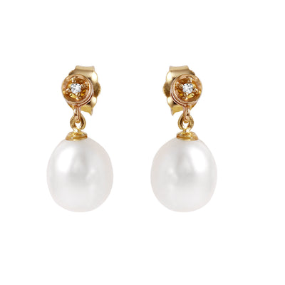 Ladies 14K Solid Gold Earrings with Diamonds & Pearls - Fashion Strada
