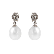 Ladies 14K White Gold Earrings with Diamonds & Pearls - Fashion Strada