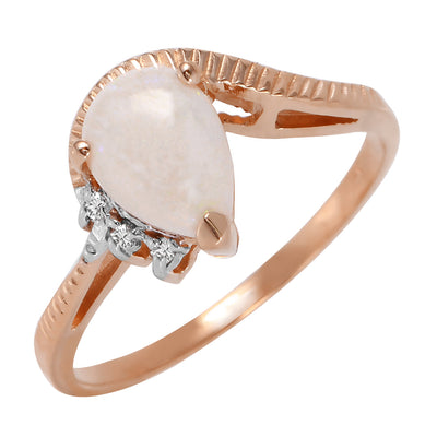 Ladies 14K Rose Gold Azur Opal Diamond Ring
