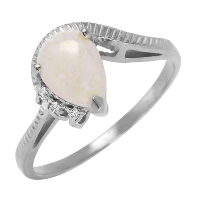 Ladies 14K White Gold Under The Elms Opal Diamond Ring
