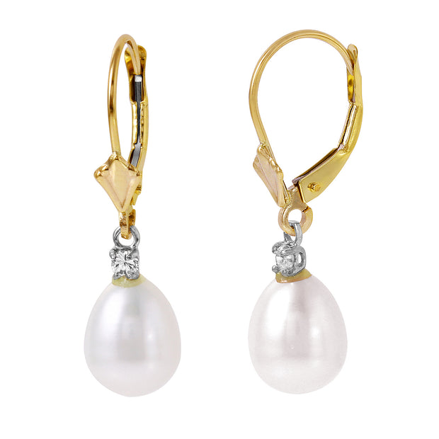 Ladies 14K Solid Gold Lever Back Earrings with Diamonds & Pearls - Fashion Strada