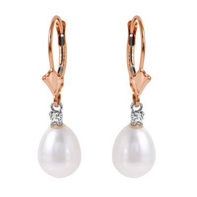 Ladies 14K Rose Gold Lever Back Earrings with Diamonds & Pearls - Fashion Strada