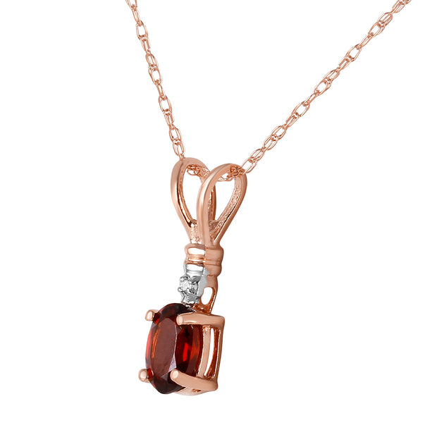 Ladies 14K Rose Gold Simply Dramatic Garnet Diamond Necklace - Fashion Strada
