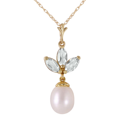 14K Solid Gold Necklace with Pearl & Green Amethyst - Fashion Strada