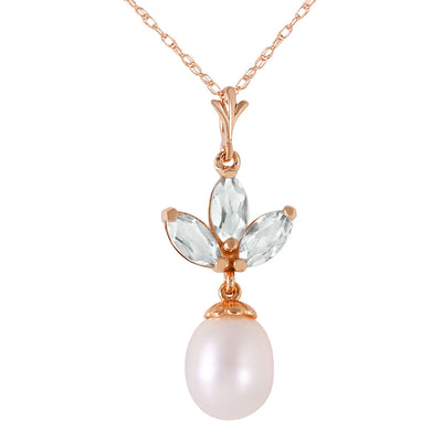 14K Rose Gold Necklace with Pearl & Green Amethyst - Fashion Strada