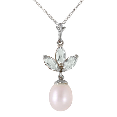 14K White Gold Necklace with Pearl & Green Amethyst - Fashion Strada