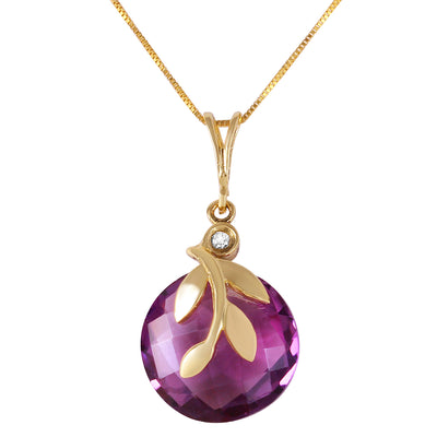 Ladies 14K Solid Gold Necklace with Checkerboard Cut Purple Amethyst & Diamond - Fashion Strada
