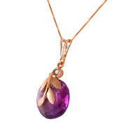 Ladies 14K Rose Gold Necklace with Checkerboard Cut Purple Amethyst & Diamond - Fashion Strada