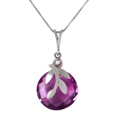 Ladies 14K White Gold Necklace with Amethysts & Diamond - Fashion Strada