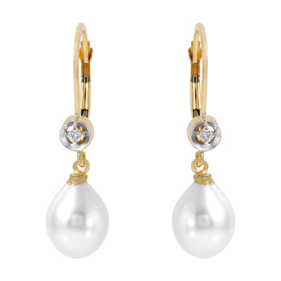 Ladies 14K Solid Gold Femme Pearl Diamond Earrings - Fashion Strada
