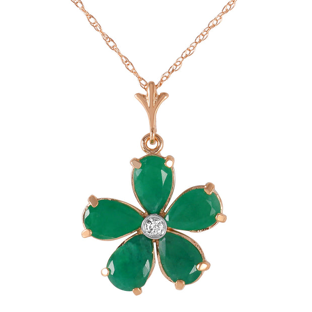 Ladies 14K Rose Gold Necklace with Emeralds & Diamond - Fashion Strada