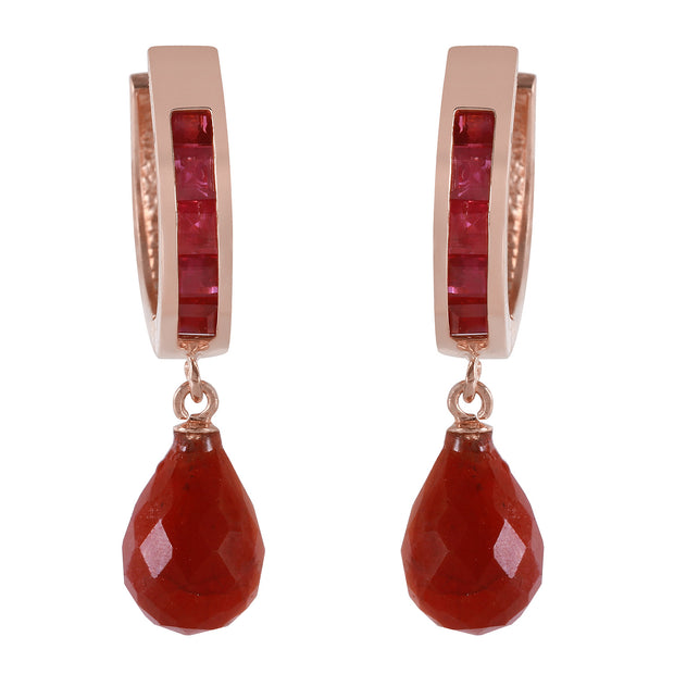 Ladies 14K Rose Gold Olympia Ruby Earrings - Fashion Strada