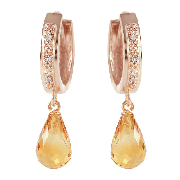 Ladies 14K Rose Gold Epitome Of Elegance Citrine Diamond Earrings - Fashion Strada